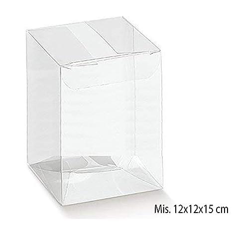 Scatole Trasparenti Bomboniere Matrimonio.50 Scatoline Rettangolari In Pvc Trasparente 12x12x15 Cm