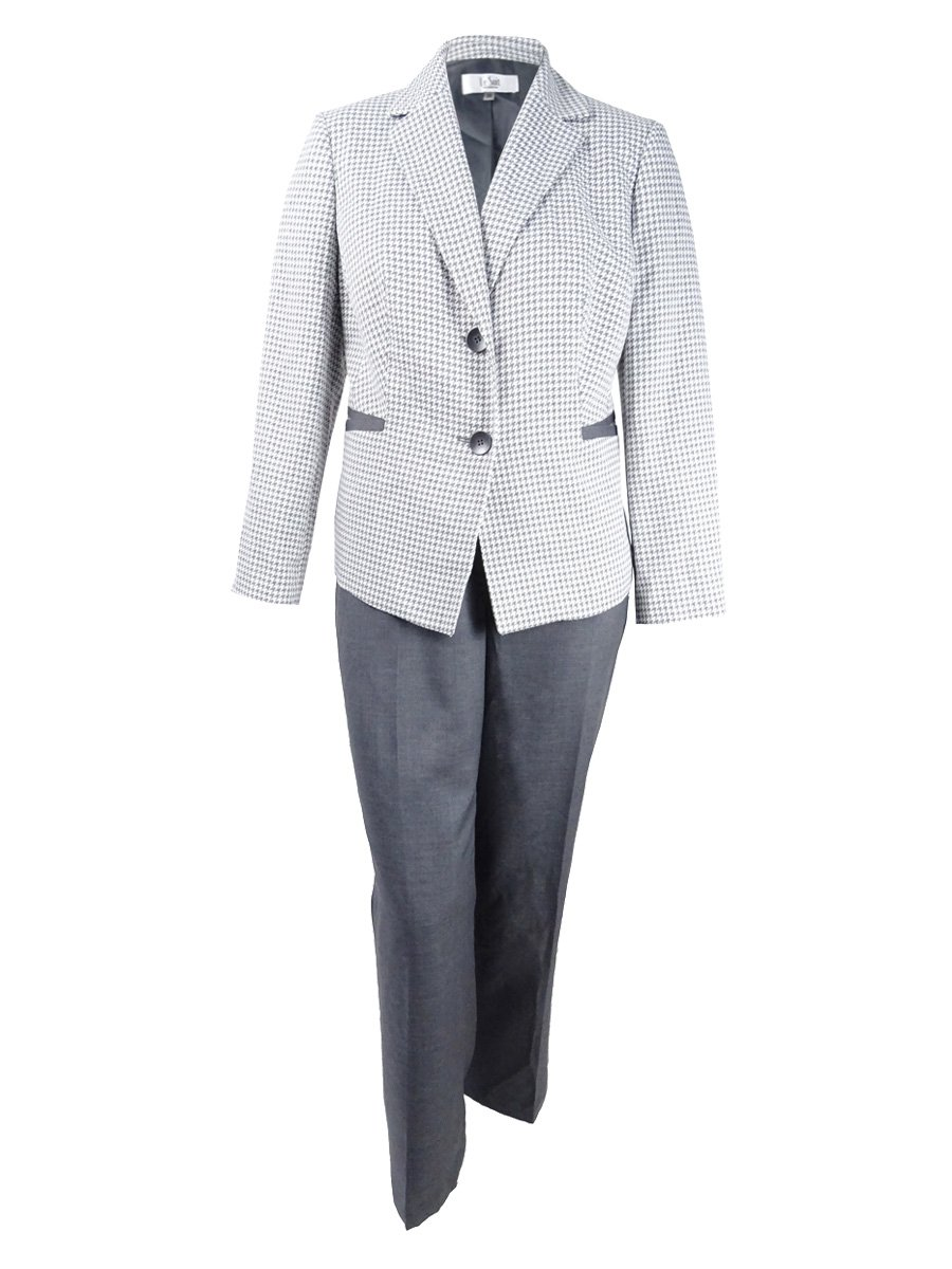 Le Suit Women's Plus Size Two-Button Houndstooth Pantsuit (16W, Charcoal/White)