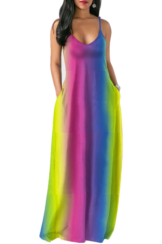 Gludear Women's Casual V-Neck Rainbow Tie Dye Print Spaghetti Strap Pockets Long Maxi Dresses,YellowΠnk,L