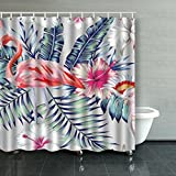 Shower Curtains Tropical Bird Pink Flamingo Parrot Macaw Animals Wildlife Nature Watercolor Floral Polyester Fabric Waterproof Decor 84X72 inches Bath Bathroom Curtain Mildew Resistant