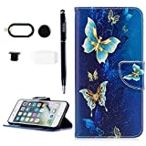 YOKIRIN iPhone 7 Plus Case, iPhone 8 Plus Case, Print Flip Leather Wallet Case TPU Inner Cover with 4 in 1 Protective Kit Camera Lens Protector,Anti Dust Plug,Cord Holders,Home Button Sticker\