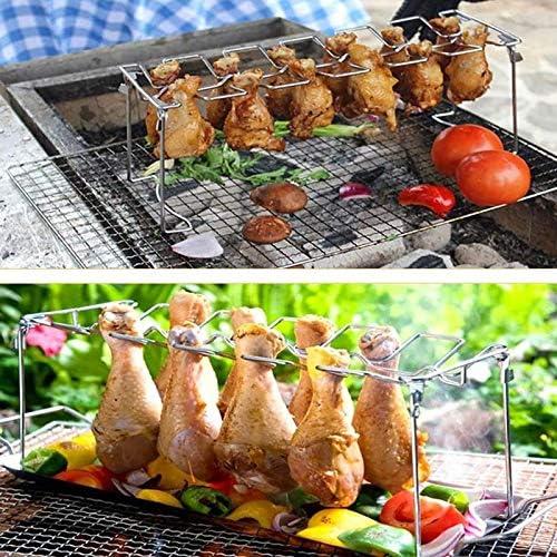 Kamena Grille de barbecue 14 emplacements en acier inoxydable avec plateau d'égouttage et pince à barbecue