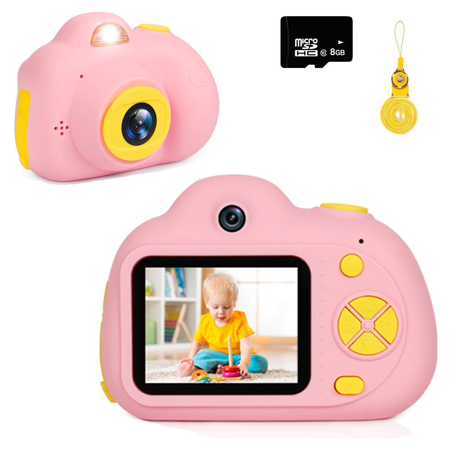 "Kids Camera Gifts for Girls 1080P HD,Mini Rechargeable Children Shockproof Digital Front and Rear Selfie Camera Child Camcorder for 3-9 Year Old Kids Gifts Waterproof 2.0"" LCD Screen with 8GB SD Card"
