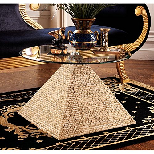 - Design Toscano Great Egyptian Pyramid of Giza Sculptural Glass-Topped Table