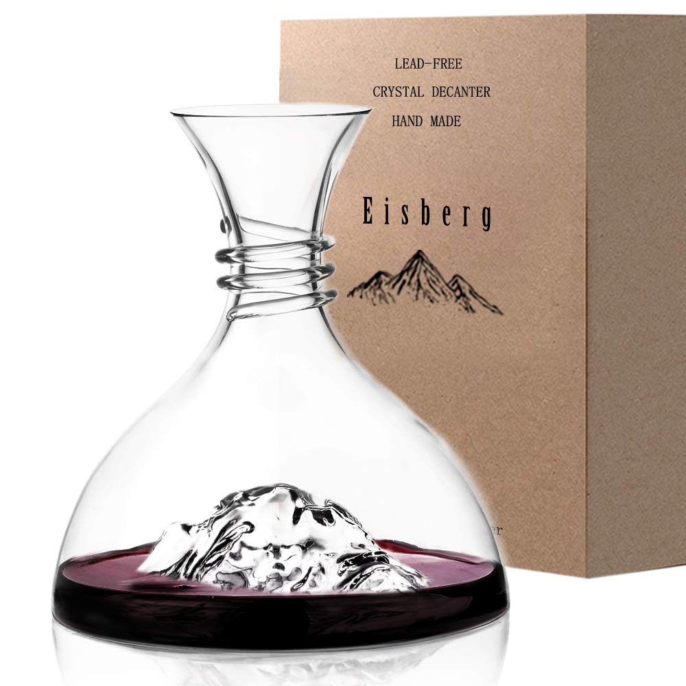 Iceberg Wine Decanter Aerator-100% Hand Blown Lead-Free Crystal Glass,Brand-New Design Elegant Red Wine and Liquor Carafe Set,Crafted Liquor Accessories,Wine Gift for Friends and Family by Eisberg