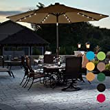 Sundale Outdoor Solar Powered 32 LED Lighted Patio Umbrella Table Market Umbrella with Crank and Push Button Tilt for Garden, Deck, Backyard, Pool, 8 Steel Ribs, 9 Feet, Tan