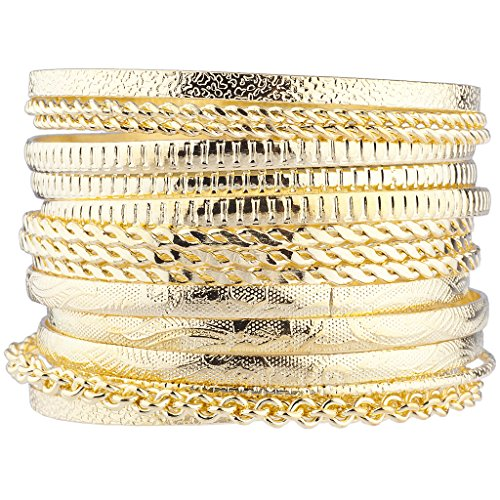 Lux Accessories Gold Tone Aztec Etched Cased Chain Multi Bangle Set of 15