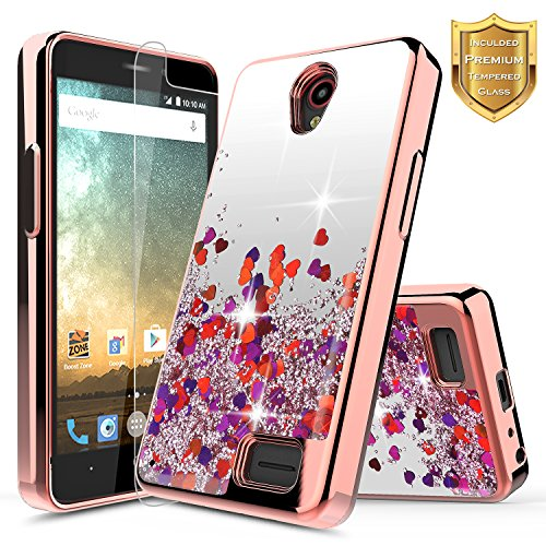 NageBee Quicksand Liquid Floating Glitter Flowing Sparkle Bling Clear Case with [Tempered Glass Screen Protector] for ZTE Maven 3 (Z835), ZTE Overture 3 / ZTE Prelude Plus (4G LTE) (Rose Gold)