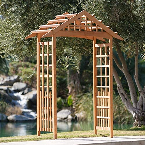 Home Improvements Traditional Natural Wood Finish 8 Foot Wood Garden Arbor Outdoor Landscape Decoration Yard Lawn Decor