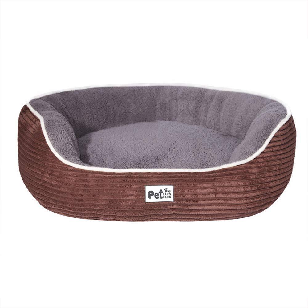 Brown Medium Brown Medium Pet Bed Stripe Corduroy Pet Dog Bed Cozy Plush for Big Medium and Small Dogs (color   Brown, Size   Medium)