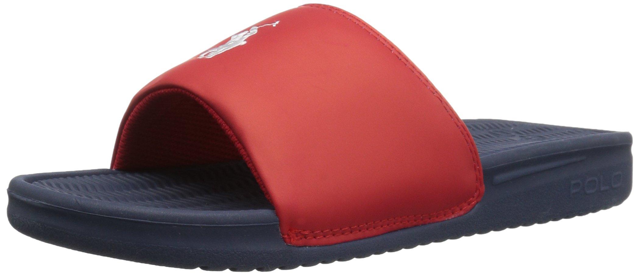 Polo Ralph Lauren Kids REMI Slide NVY/RED Band/WHT PP Sandal, Navy, 6 C US Big Kid