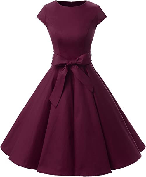 TALLA XL. Dressystar Vintage 1950s Polka Dot and Solid Color Prom Dresses Cap-Sleeve Burgundy XL