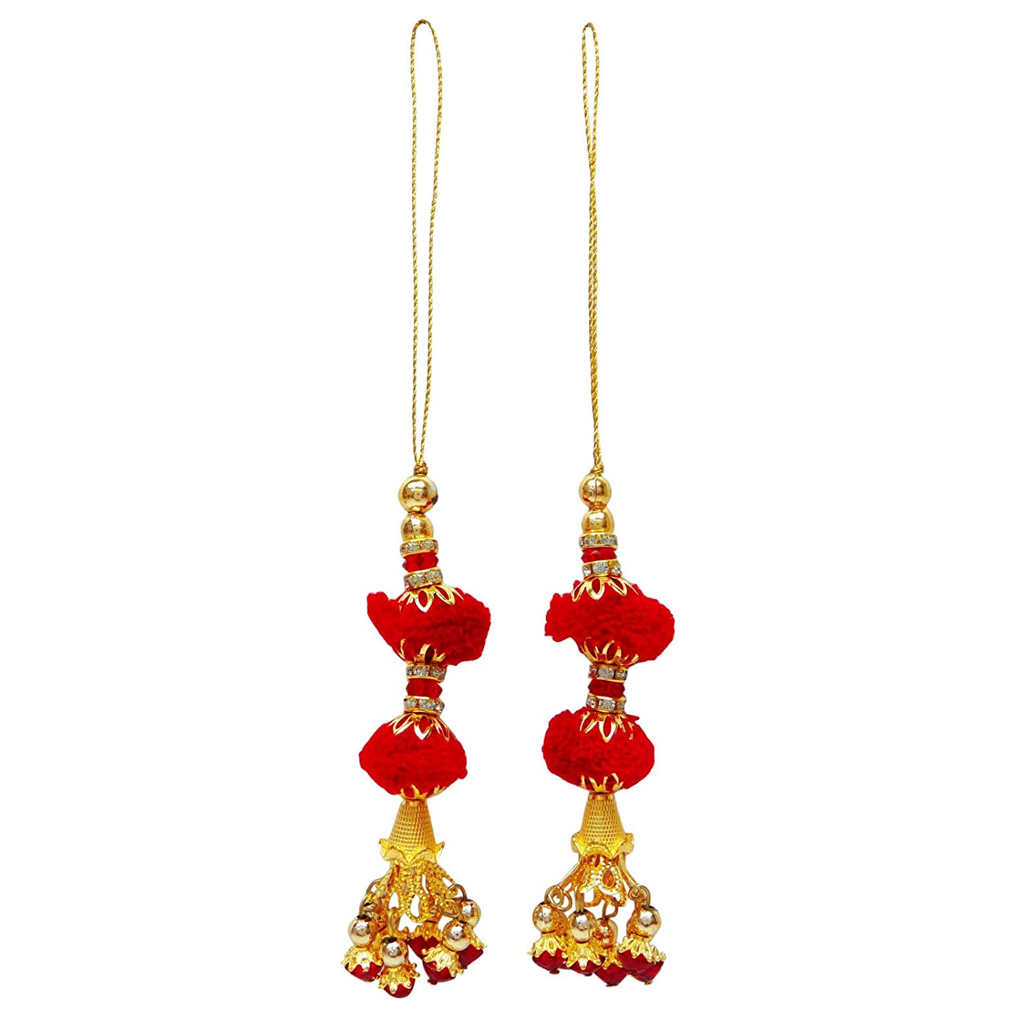Sewing Accessories Pom Pom Tassels Indian Blouse Latkans Craft Key chain 1 Pair