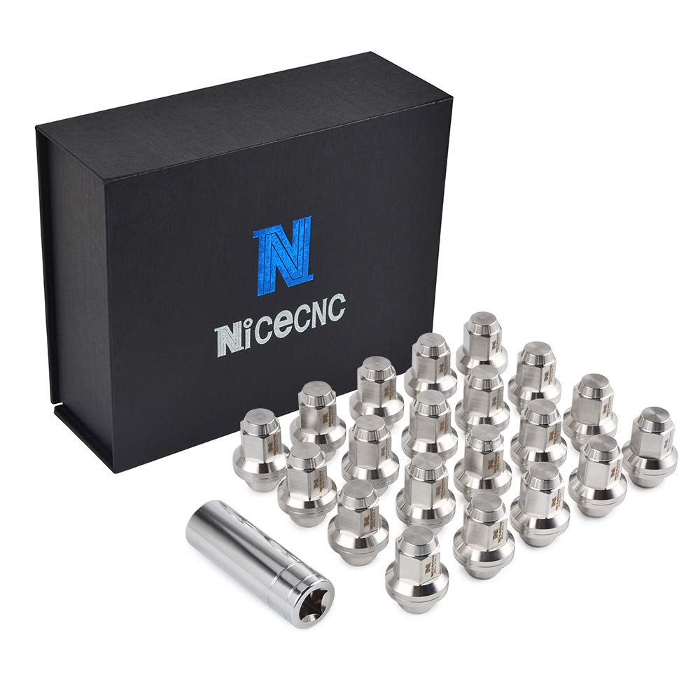 Nicecnc 20PCS 12x1.5MM Through-Hardened T304 Stainless Steel Anti-Rust,Corrosion Wheel Lug Nuts with Washer Closed End & Tool for Toyota Lexus Scion Pontiac Mag Seat Wheels