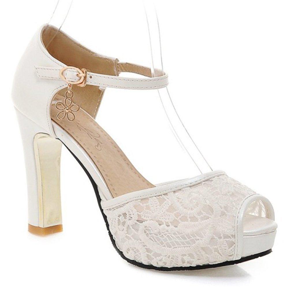 Summerwhisper Women's Sexy Gauze Splicing Peep Toe Platform Sandals Ankle Strap Chunky High Heel Shoes White 8 B(M) US