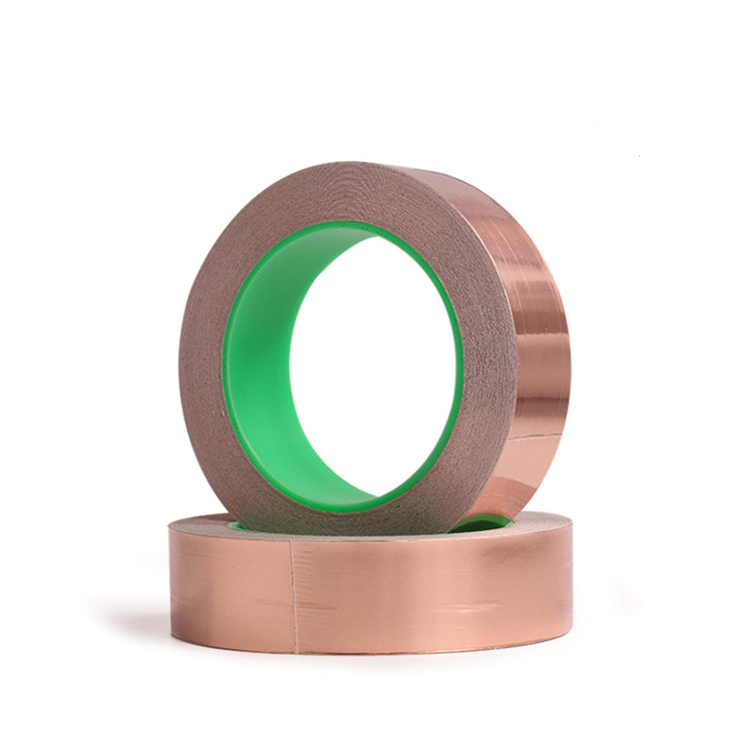 Copper Foil Tape with Double Sided Conductive Adhesive 2 Rolls 8 Sizes - Electrical Repairs, Slug Repellent, EMI Shielding, Stained Glass, Crafts, Grounding (2-Roll,25mm x 27.5yard)