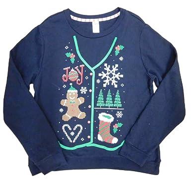 a4222da74ba Holiday Time Womens Plus Black Faux Vest Christmas Pullover Sweatshirt Top  XL