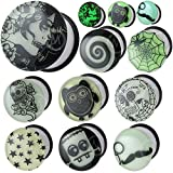 glow in the dark 0 gauge plugs - 0 gauges 0g ear plugs Glow in the dark flesh tunnels double flare expander stretcher taper MoDTanOiz 8mm