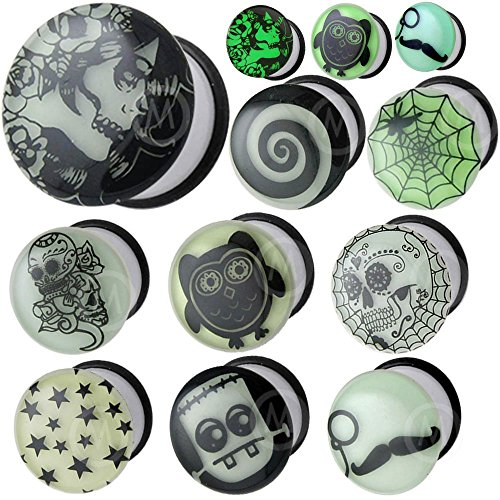 0 gauges 0g ear plugs Glow in the dark flesh tunnels double flare expander stretcher taper MoDTanOiz 8mm