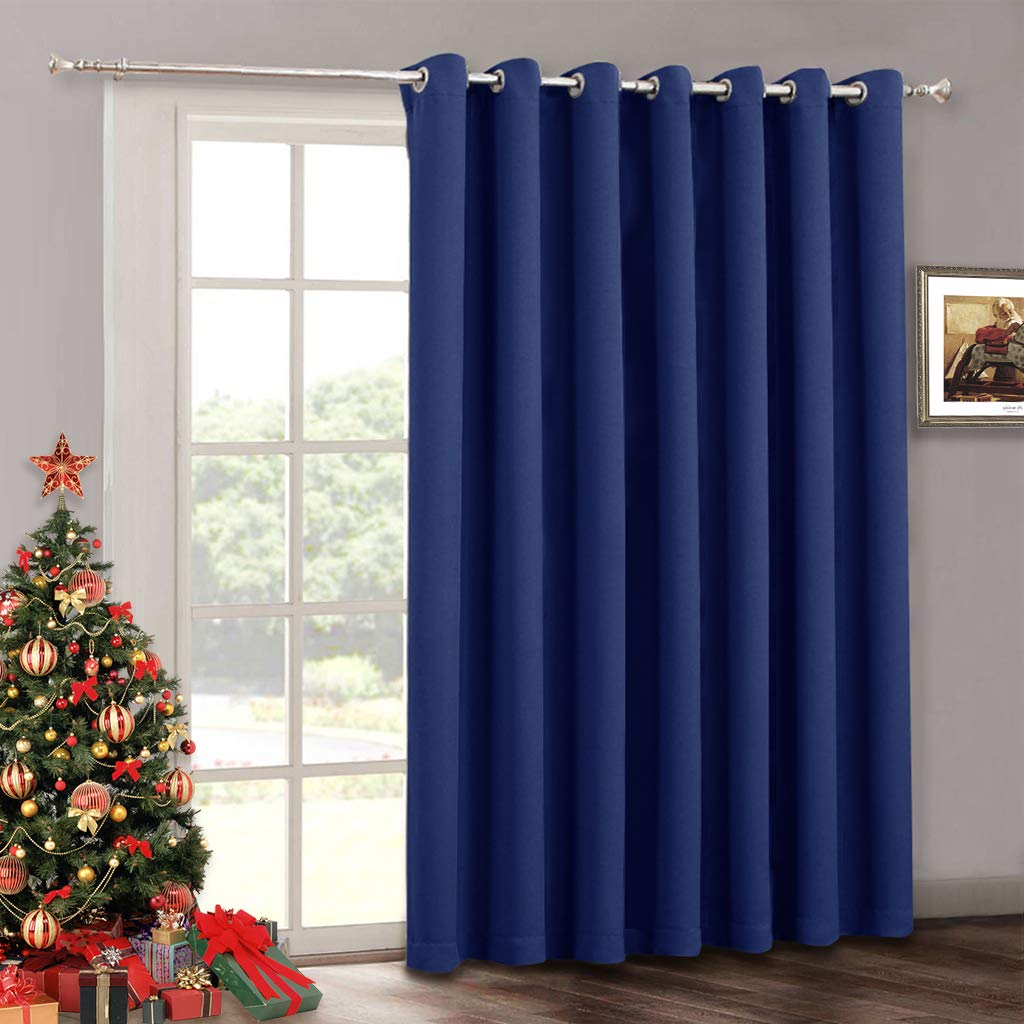 Wide Vertical Insulated Blind Curtain - Indoor Outdoor Patio Door Drape Furniture Protect Grommet Blackout Curtains Panel for Bedroom Sliding Glass Door Gazebo, 100 x 84 inches Long, Marine Blue