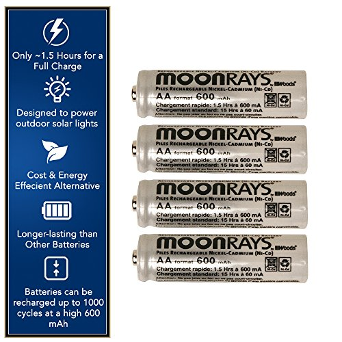 Moonrays Rechargeable NiCd Batteries for Outdoor Solar-Powered Lights (AA, 1.2V, 600mAH, 4-pc Pack)
