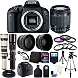 Canon EOS Rebel T7i/800D 24.2MP Built-In Wi-Fi with NFC Built-In Wi-Fi with NFC DSLR Camera 18-55mm 500mm 650-1300mm Accessory Bundle
