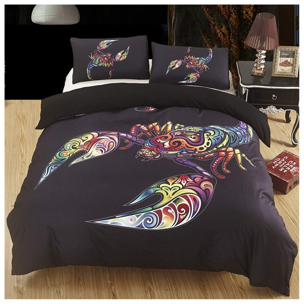 Bedding Duvet Cover Set Duvet Cover Set with Zipper Closure Easy Care Soft Bedding Set Plus Pillowcases Fade & Stain Resistant Digital Printing (Color : E, Size : 175X218CM) by OZYN-Duvet Covers