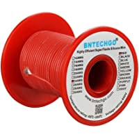 BNTECHGO 24 Gauge Silicone Wire Spool Red 50 feet Ultra Flexible High Temp 200 deg C 600V 24 AWG Silicone Rubber Wire 40 Strands of Tinned Copper Wire Stranded Wire for Model Low Impedance