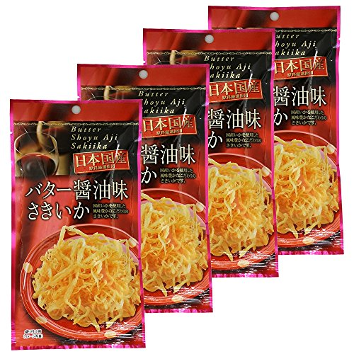 Butter And Soy Sauce Sakiika 0.4oz 4pcs Set Shredded And Dried Squid Japanese Appetizers Kujifood Ninjapo by Ninjapo