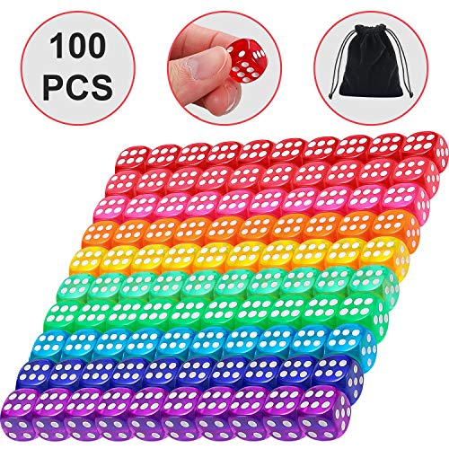 Blulu 6-Sided Games Dice Set, Colored Dice with Black Velvet Pouches for Playing Games, Like Board Games, Dice Games, Math Games, Party Favors and More (14 mm, 100 Pieces Multicolored