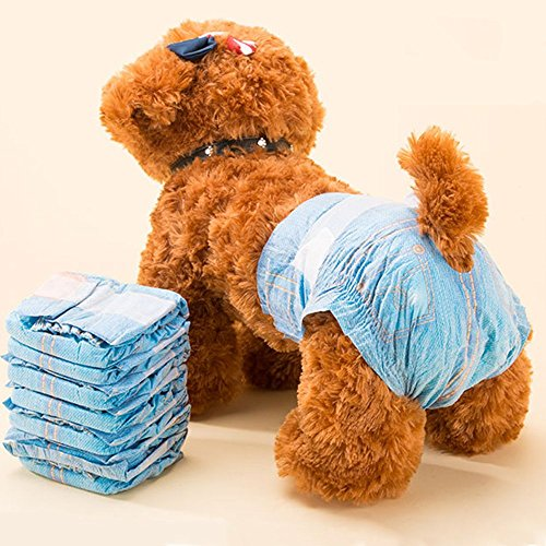 Pet Soft Fashion Cotton Denim Jeans Pet Disposable Diaper Cowboy Style Puppy Dog Diaper,XS