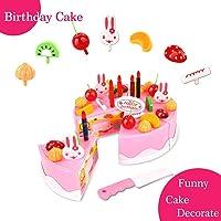 Cadeau d'anniversaire de la fête des enfants jouets de jouets Jeu Décoration de bricolage Jeu Gâteau de fête d'anniversaire avec des bougies pour les enfants Les bébés filles Classic Toy 37pcs