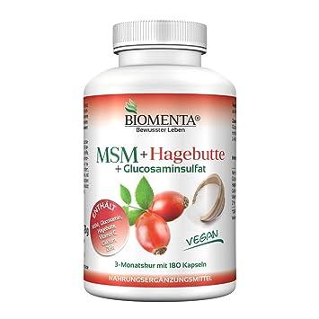Biomenta MSM + Escaramujo - con MSM + Glucosamina + Vitamina C + Calcium + Zinc - 180 vegano Cápsulas - 3 Meses: Amazon.es: Salud y cuidado personal
