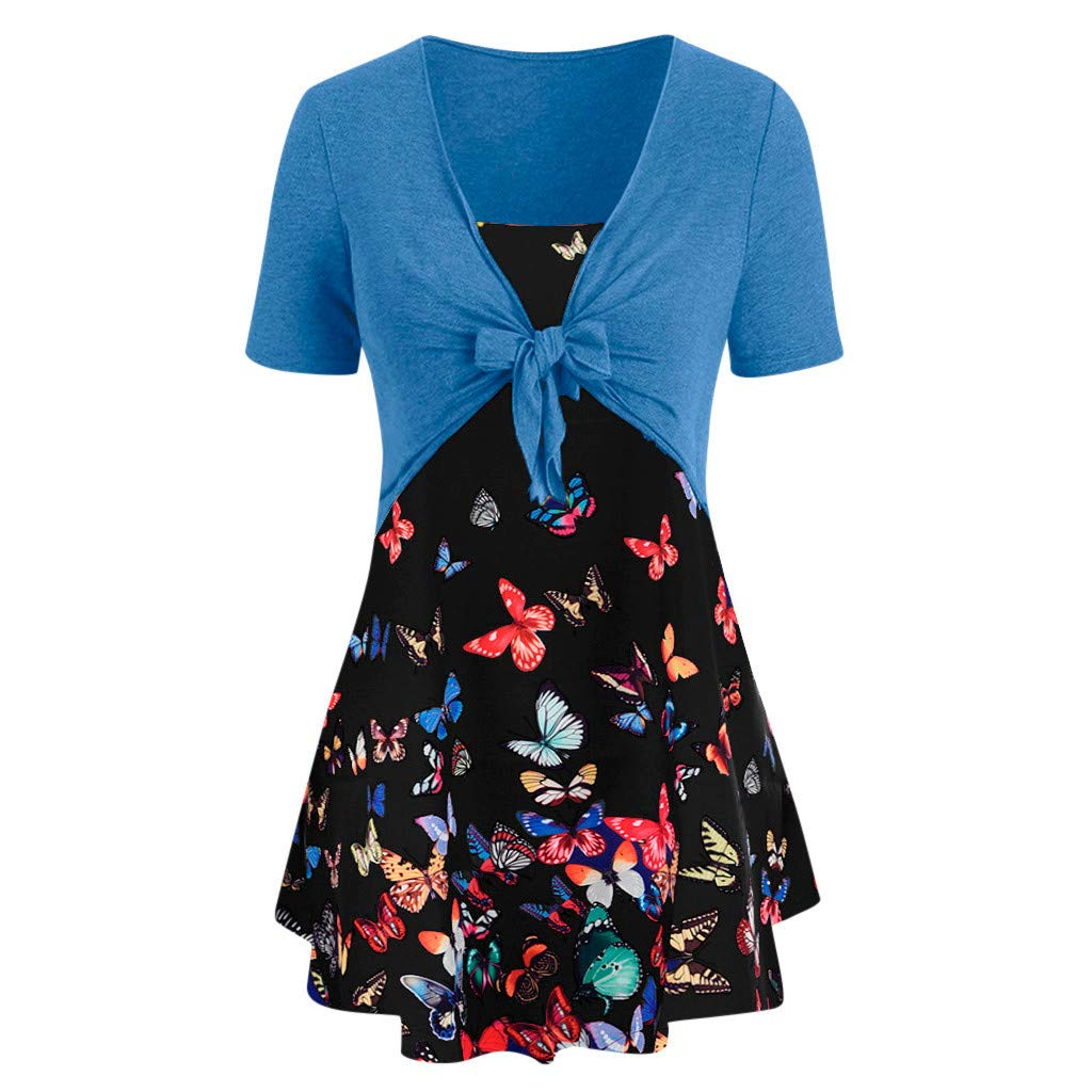 Sunyastor Women's T-Shirt Short Sleeve Bow Knot Bandage Top Sunflower Print Tank Blouse Suits T-Shirt for Summer Blue