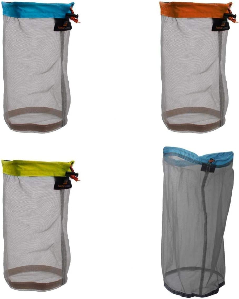 2pcs S Drawstring Mesh Stuff Sack Shoes Clothes Bag Hiking Camping Travel
