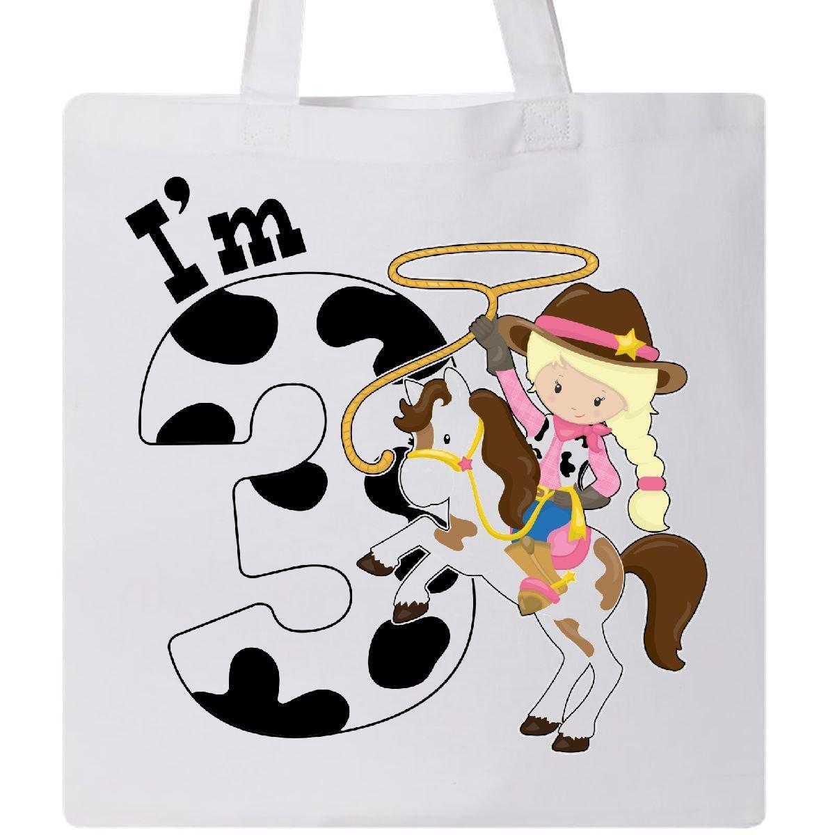Inktastic - I'm Three-cowgirl riding horse birthday Tote Bag White