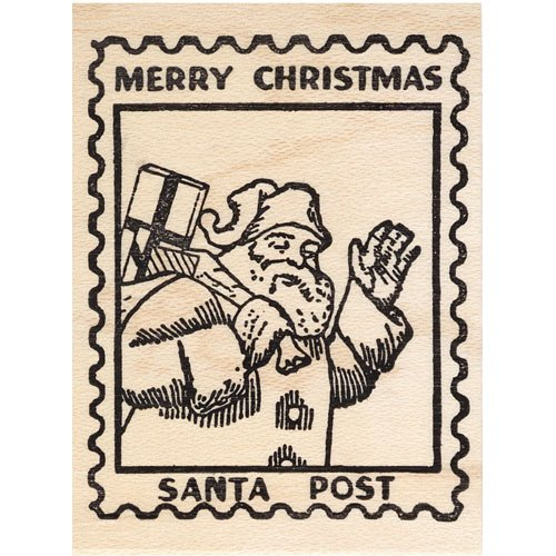 Santa Post Rubber Stamp Christmas Faux Postage