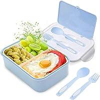 Fambrera Infantil, Lunch Box, Fiambrera con 3 Compartimientos, Cuchara Tenedor Lonchera, Bento Box Sostenible, para…