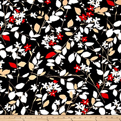 Print floral twill cotton fabric by the yard
