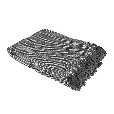 Brilliant Sofa Throw Bed Spread Blanket Natural Como Check Throw 127x152cm 100% Cotton Afghans & Throw Blankets