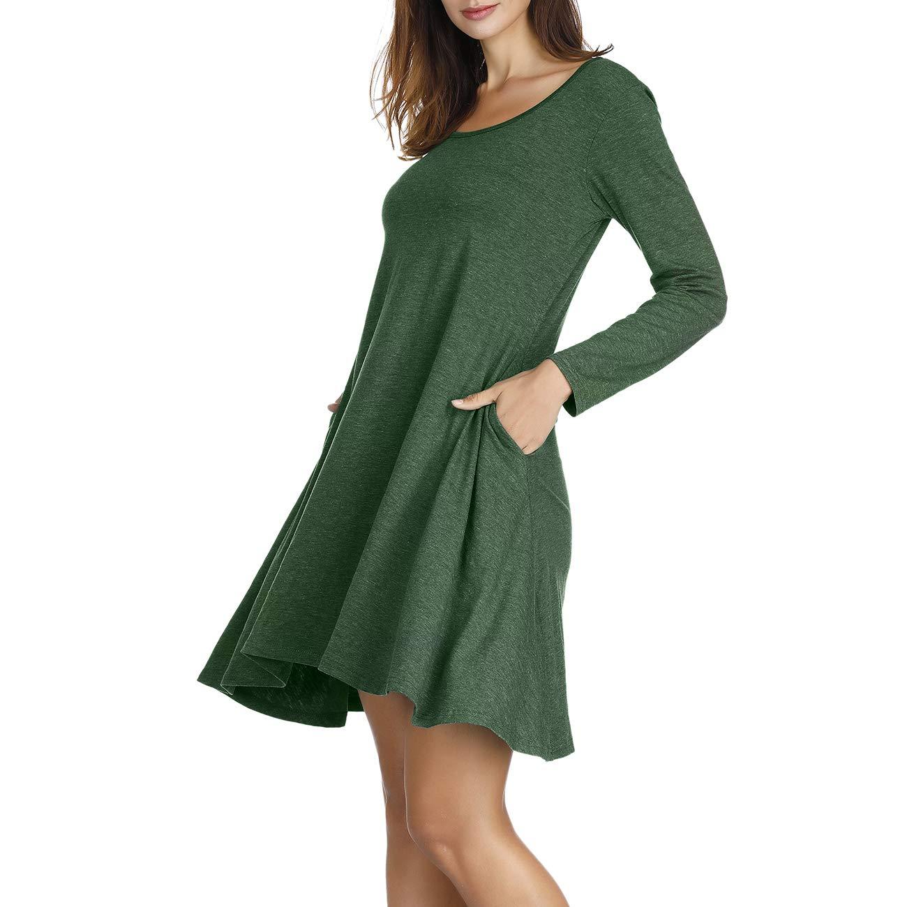 Naokenu Women Long Sleeve T Shirt Dress Pleated Swing Dress With