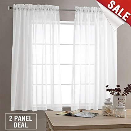 Sheer White Curtains Living Room 63 Inch Length Bedroom Window Curtain  White Sheer Curtain Panels Rod