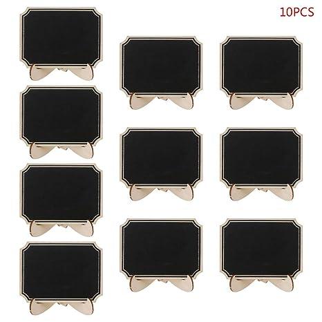 GUSENG 10 piezas de madera mini pizarra pizarra mesa signo ...