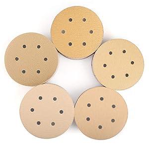 6 Inch 6 Holes Sanding Discs, 100PCS 60 80 120 150 220 Grit Sandpaper Assortment - LotFancy Hook and Loop Random Orbital Sander Paper