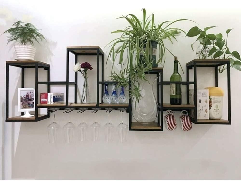WLD Estante para vino estante para copa de vino estante europeo para vino de madera maciza de hierro forjado | Estante para colgar en la pared | Estante creativo del vino del restaurante | Pared deco