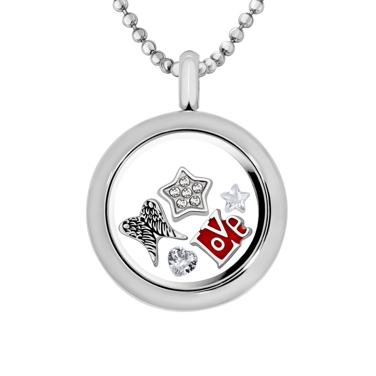 Quiges Stainless Steel Living Memory Locket 25mm with Necklace and 5 Floating Charms CLS015