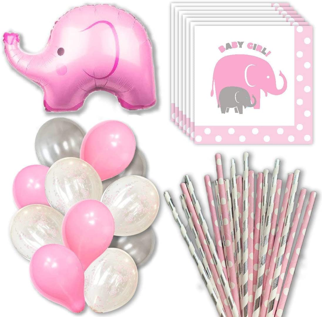 Amazon Com Rainmeadow Elephant Baby Shower Decorations For Girl Party Supply Packs Balloons Napkins Straws Pink Silver Grey Pink And Grey Elephant Baby Shower Decorations Toys Games,Modern Victorian Era Furniture