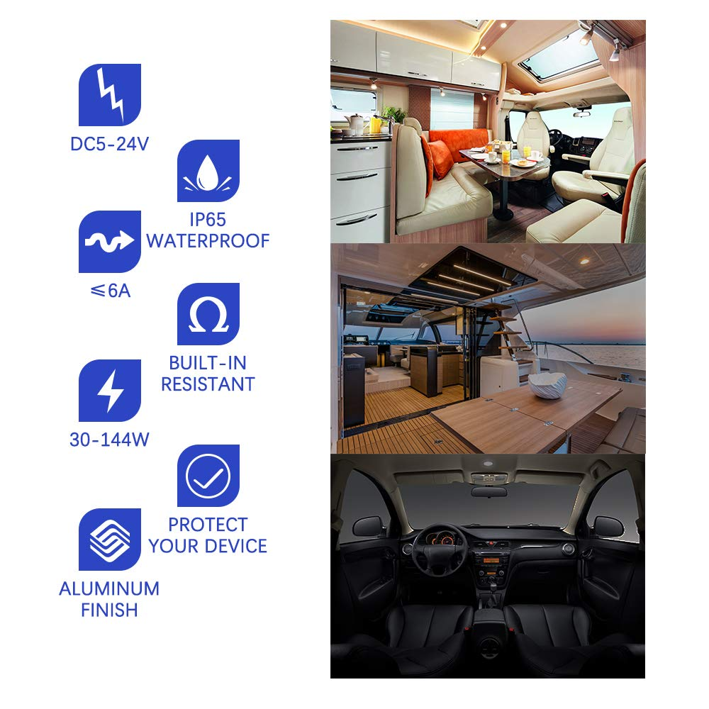 ALOVECO 12 Volt DC Dimmer Switch for LED RV Lights Interior 5-24 Volts LED Ceiling Dome Lights Dimmer and Switch for Camper Halogen Marine and Strip Lighting Truck Auto Recreational Vehicle
