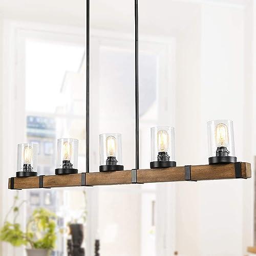 LALUZ Kitchen Light Fixtures,5-Lights Dining Room Lighting Fixtures Hanging, Long Wood Beam Farmhouse Chandelier 42.9 L