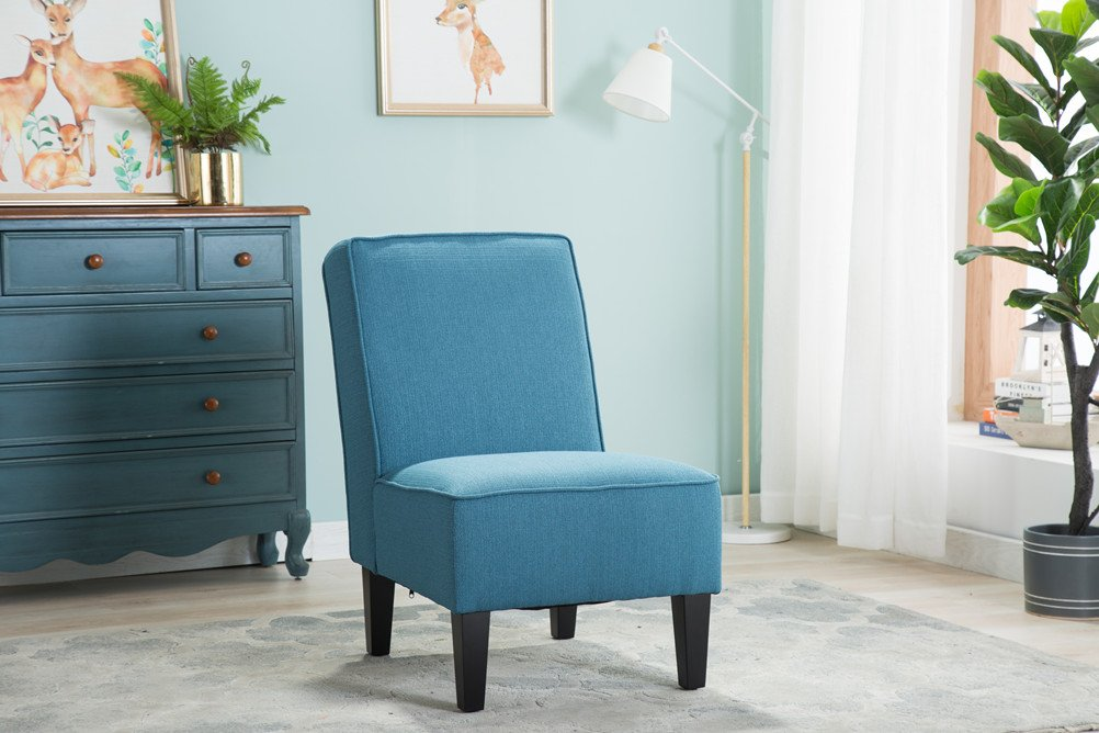 Changjie Cushioned linen Armless Settee Loveseat Sofa Couch Home Casual Living Room Sleeper (One Seat Blue) by Changjie (Image #5)